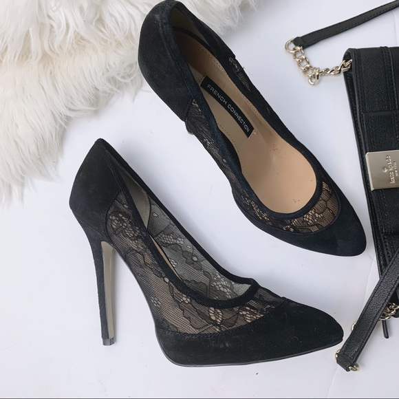 98b2fdd141 French Connection Shoes | Cybil Lace Suede Pump | Poshmark